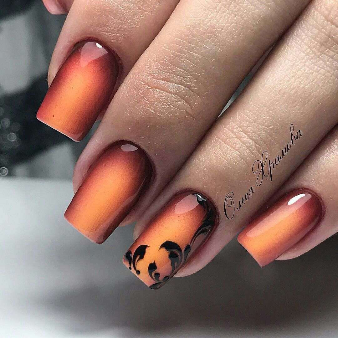 cool fall ombre nail art design