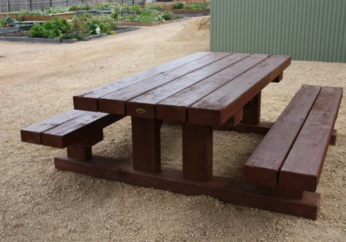 Solid red gum timber sleeper beer table yard project for Wheelchair accessible picnic table plans