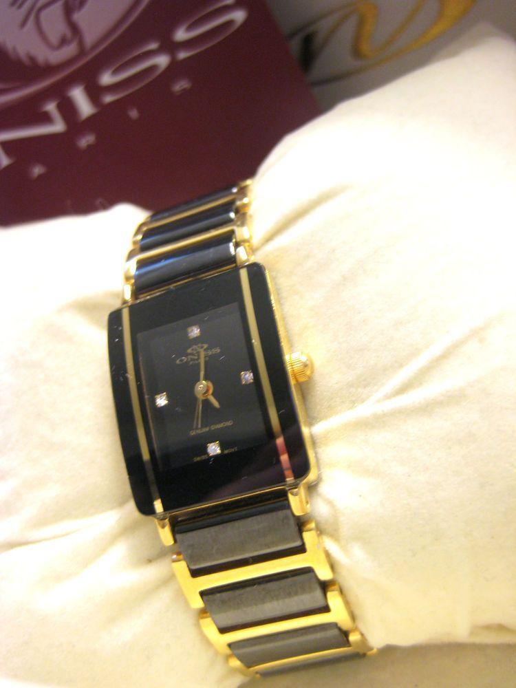 3ee37df84 Ladies Oniss Diamond Black Ceramic & 14K Gold Plated Watch Swiss Movement  in BOX #Oniss #LuxuryDressStyles