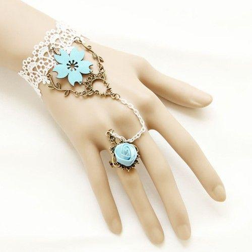 Gorgeous Retro Fashion: Sukurakoi Decor Lace Bracelet with Ring Jewelry
