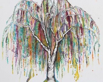 Image result for watercolor willow tree tattoo