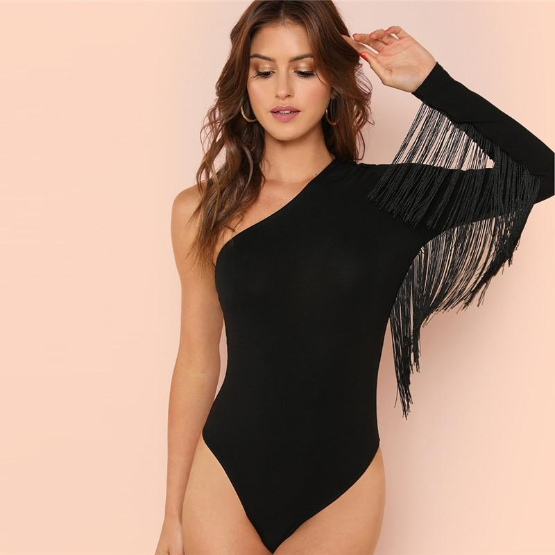Women Slim Fit Fringe Bodysuit V Neck Long Sleeve Broadcloth Plain Bodysuits New