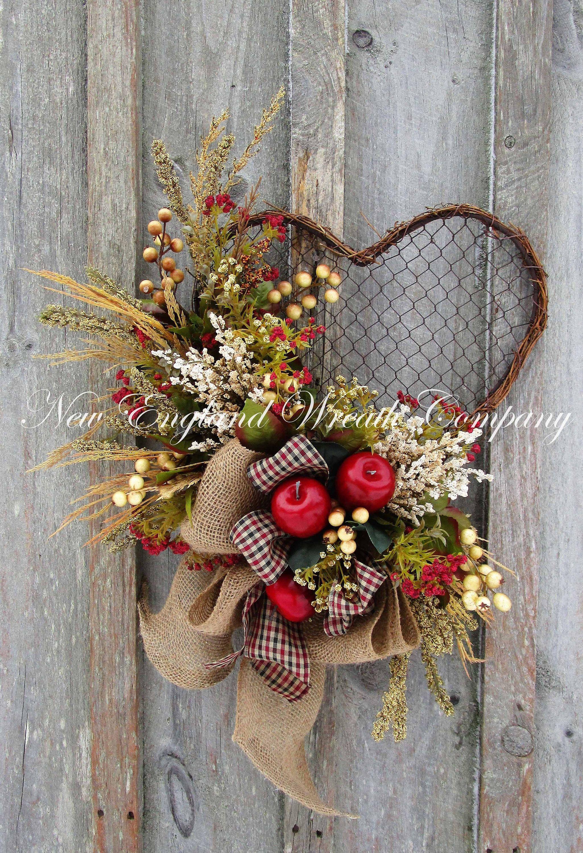 Country Farmhouse Rustic Heart Wreath A New England