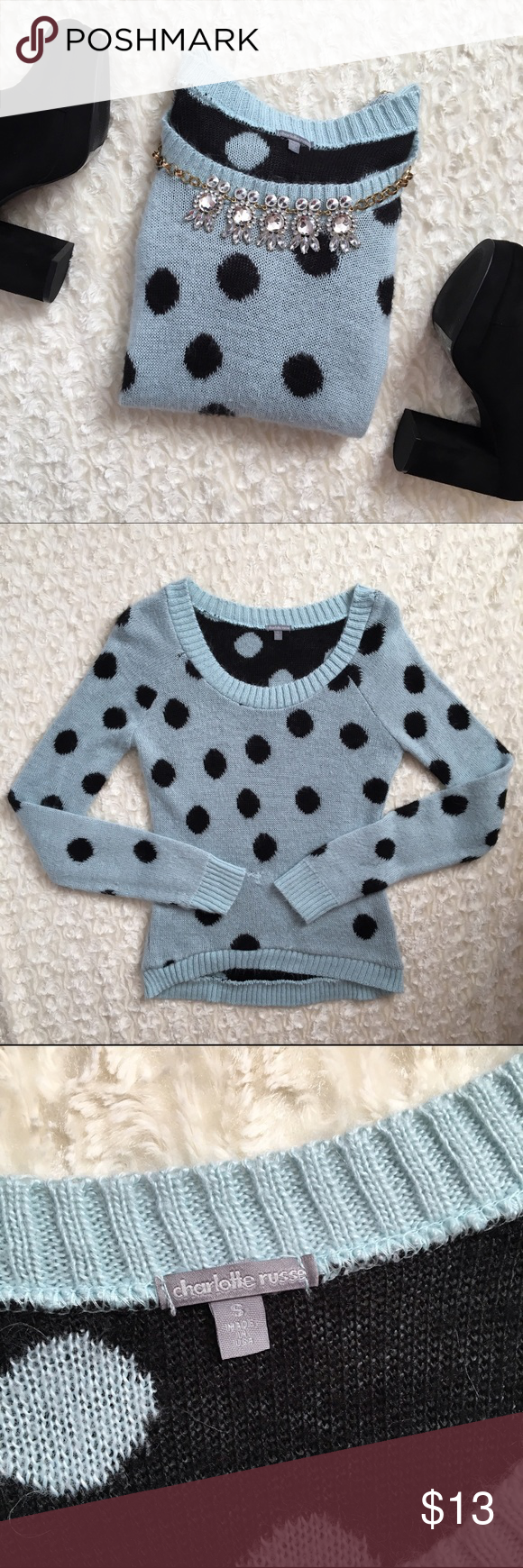 Polka Dot Sweater Blue and black polka dot sweater from Charlotte Russe. Is super soft and had a small hole that was switched up as seen in the last pic. Charlotte Russe Sweaters Crew & Scoop Necks