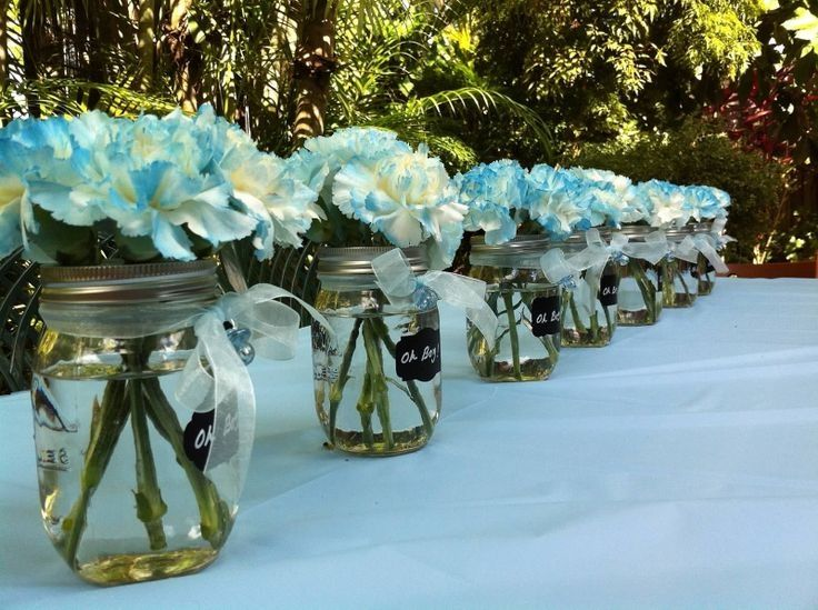 Baby Shower Flowers In Mason Jars Pictures Photos And Images For Facebook Tumblr Pin Baby Boy Shower Party Boy Baby Shower Centerpieces Baby Shower Flowers