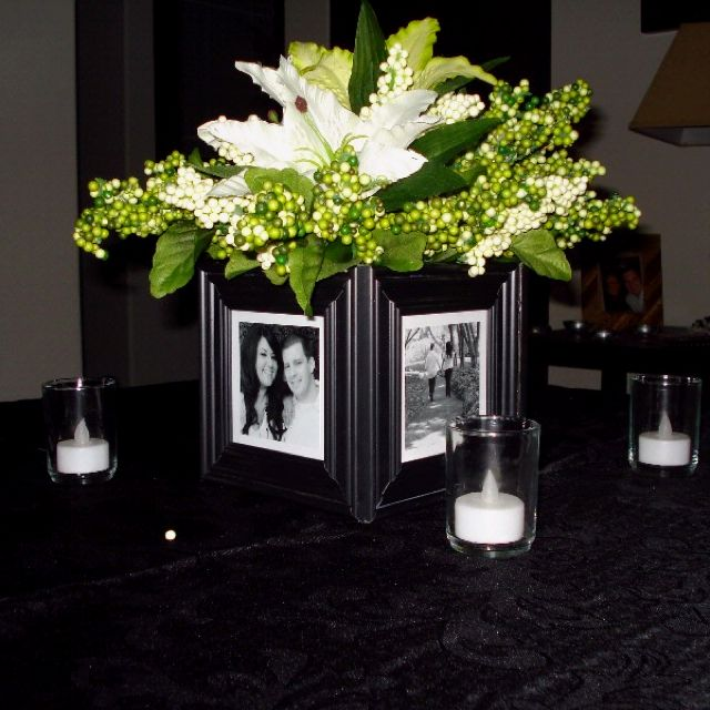 Cute Wedding Centerpiece Ideas: Cute Centerpiece! I Would Use Different Color Frames, And