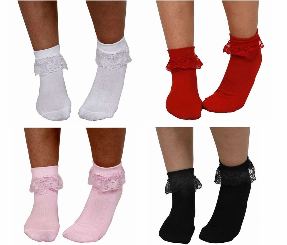 Ladies Girls Frilly Lace Ankle Socks UK Size Party Frill Sock 3 Pairs