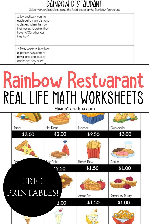 Real Life Math Rainbow Restaurant Real Life Math Money Math Worksheets Math Worksheets [ 1500 x 1000 Pixel ]