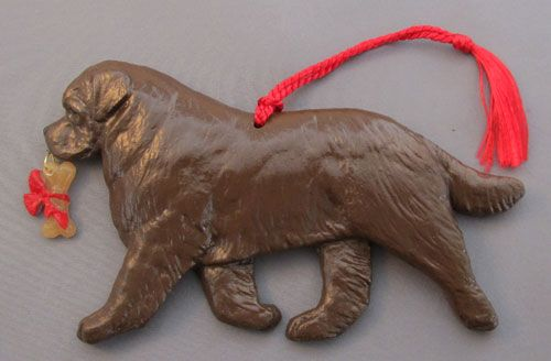 Newfoundland Dog Breed Christmas Ornament Brown Newfie at For Love of a Dog.  Handmade in the USA - Newfoundland Dog Breed Christmas Ornament Brown Newfie At For Love