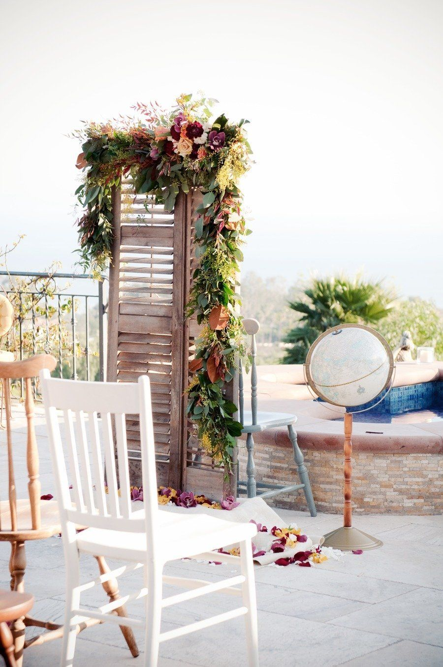 Spanish Inspired Wedding Photo Shoot at Villa Mara Malibu by Orange Blossom Special Events + Krista Mason Photography Seating Antique French Doors Globe Turning Pool Poolside Florals Archive Rentals  Read more - http://www.stylemepretty.com/california-weddings/2012/04/18/spanish-inspired-wedding-photo-shoot-at-villa-mara-malibu-by-orange-blossom-special-events-krista-mason-photography/