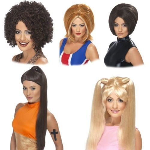 SPICE-GIRL-WIGS-1990S-FANCY-DRESS-BABY-SPORTY-GINGER-BLONDE-PIG-TAILS-BLACK-WIGS
