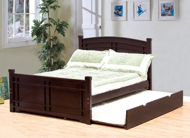 Adena Espresso Faux Leather Full Bed W Trundle Full Bed With