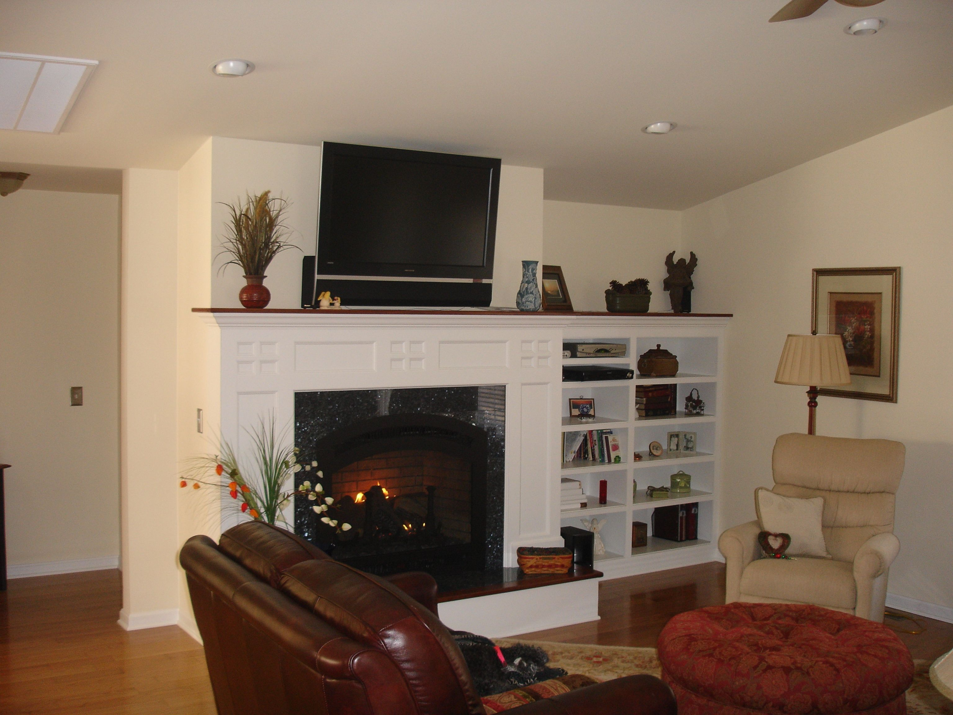 Built-in shelving next to fireplace | Home Project Inspirations ...