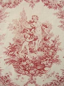 antique french fabric red romantic toile red c1910 broderie toile de jouy toile et. Black Bedroom Furniture Sets. Home Design Ideas