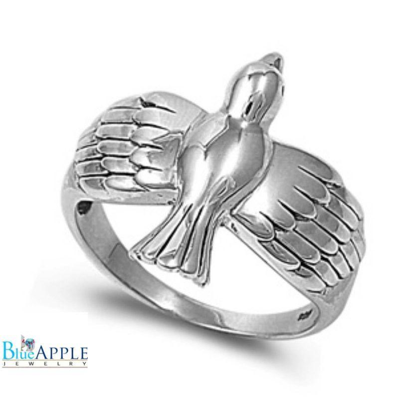 Bird Ring Solid 925 Sterling Silver Cute Love Bird Oxidized Finish Ring Simple Plain Love Bird Ring Love Gift Bird Ring