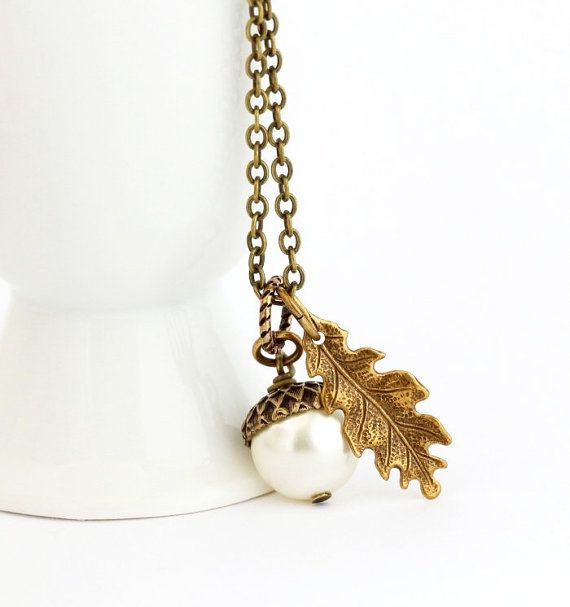 Ivory pearl acorn necklace woodland pendant necklace autumn ivory pearl acorn necklace woodland pendant necklace autumn jewelry acorn pendant rustic mozeypictures Image collections