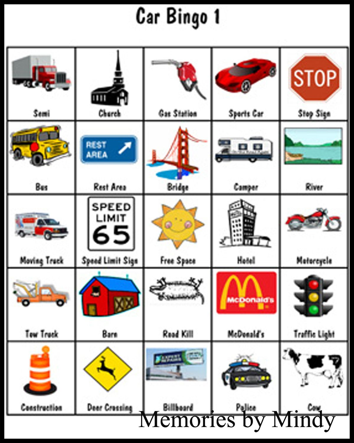 This is a picture of Dashing Car Bingo Cards