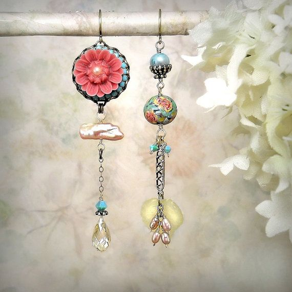 Hothouse Flower - OOAK Romantic Spring Equinox Earrings, Springtime Blossoms, Pink Yellow Aqua Green, Garden Party, Garden Wedding, by MiaMontgomery on Etsy