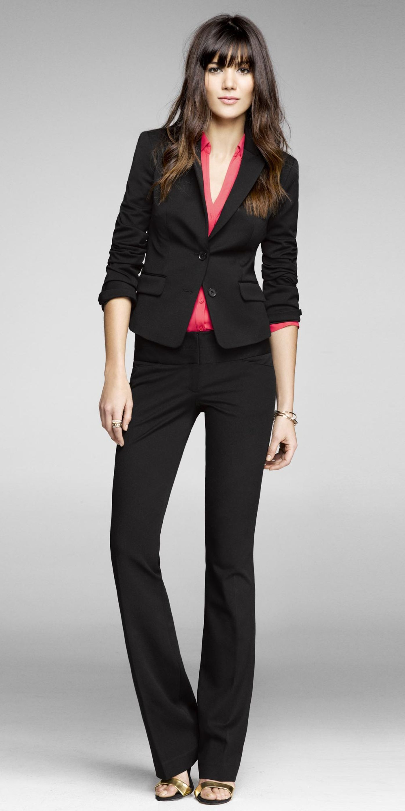 studio stretch peplum jacket and editor pant  express