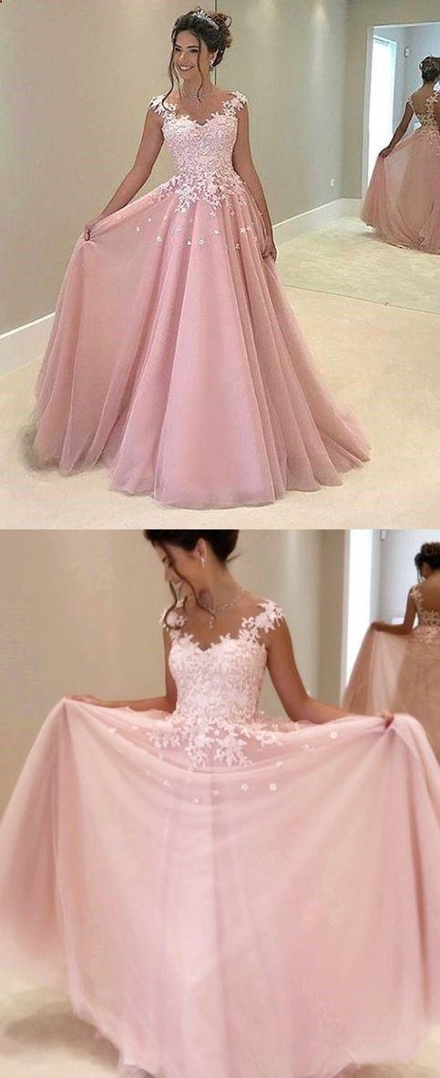 Pink Appliques Prom Dress,Long Prom Dresses,Charming Prom Dresses ...
