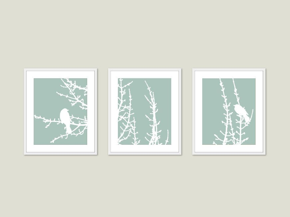 Spring Birds And Branches Wall Art Print Set Green Seafoam Pastel Modern Woodland  Home Decor. $45.00, Via Etsy.