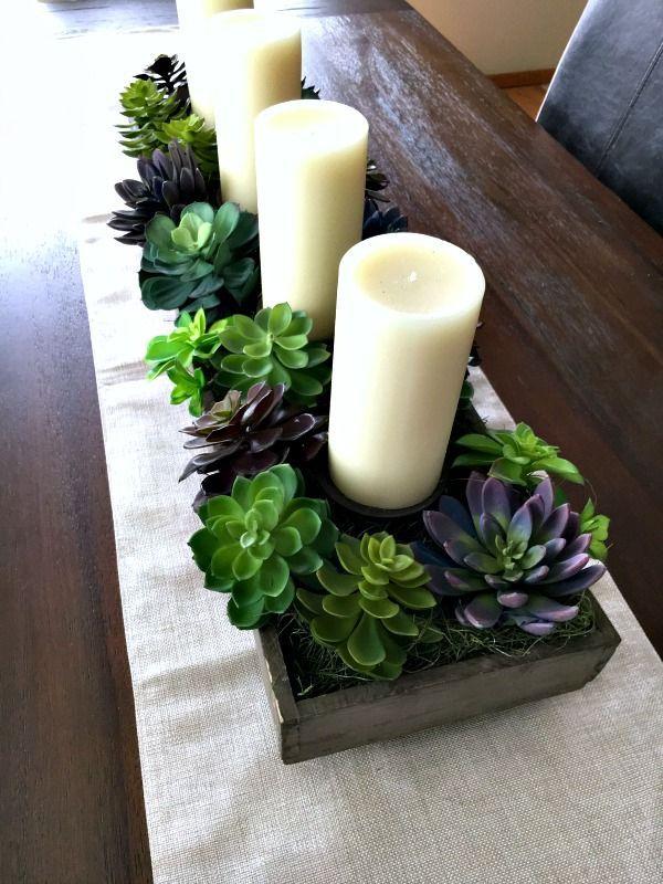 Spring Succulent Garden Idea Dining Room Centerpiece Dining Room Table Centerpieces Dining Room Table Decor