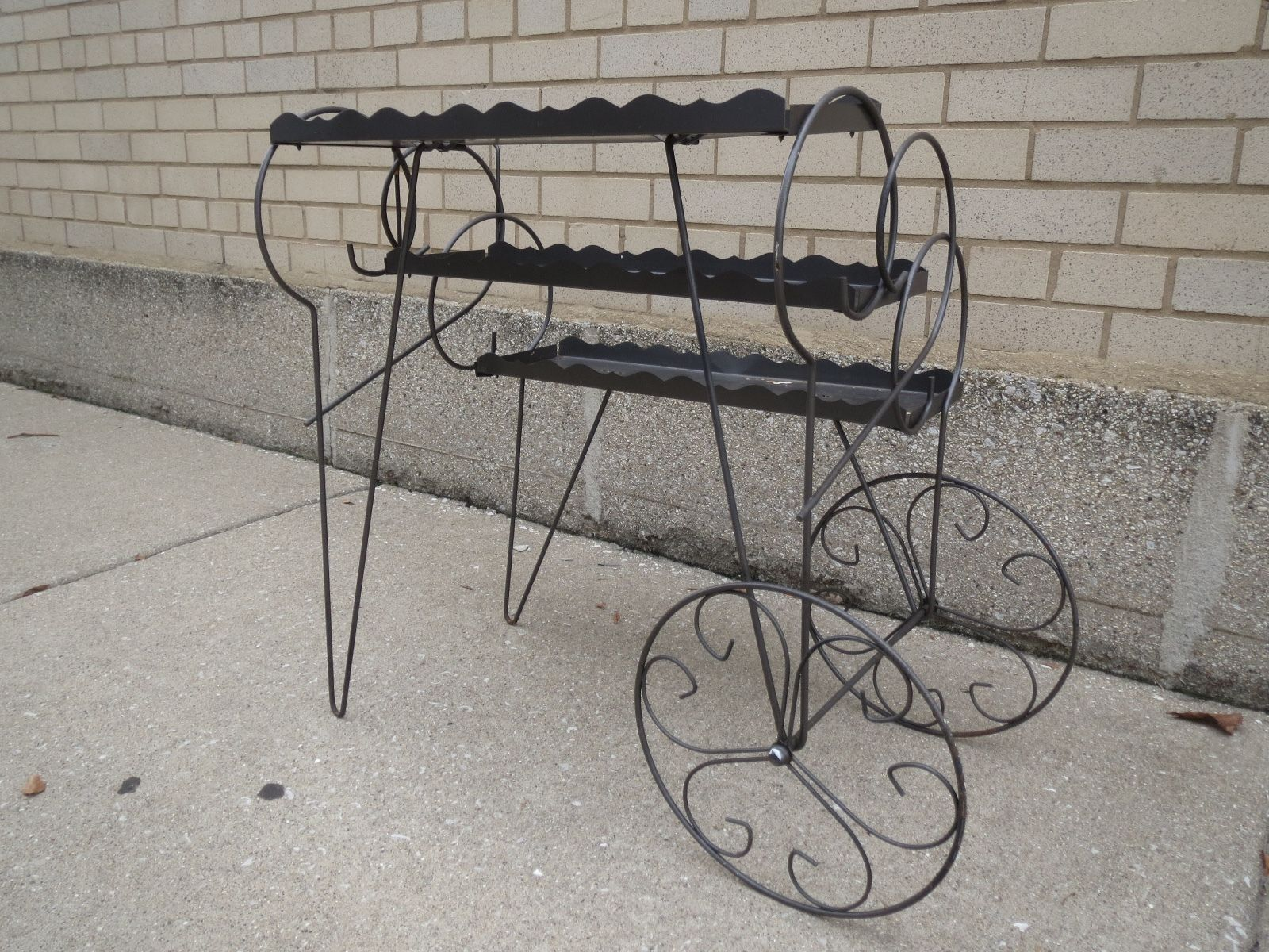 VINTAGE PULL CART wagon PLANT STAND 3 TIER HAIRPIN FRONT LEGS bent ...