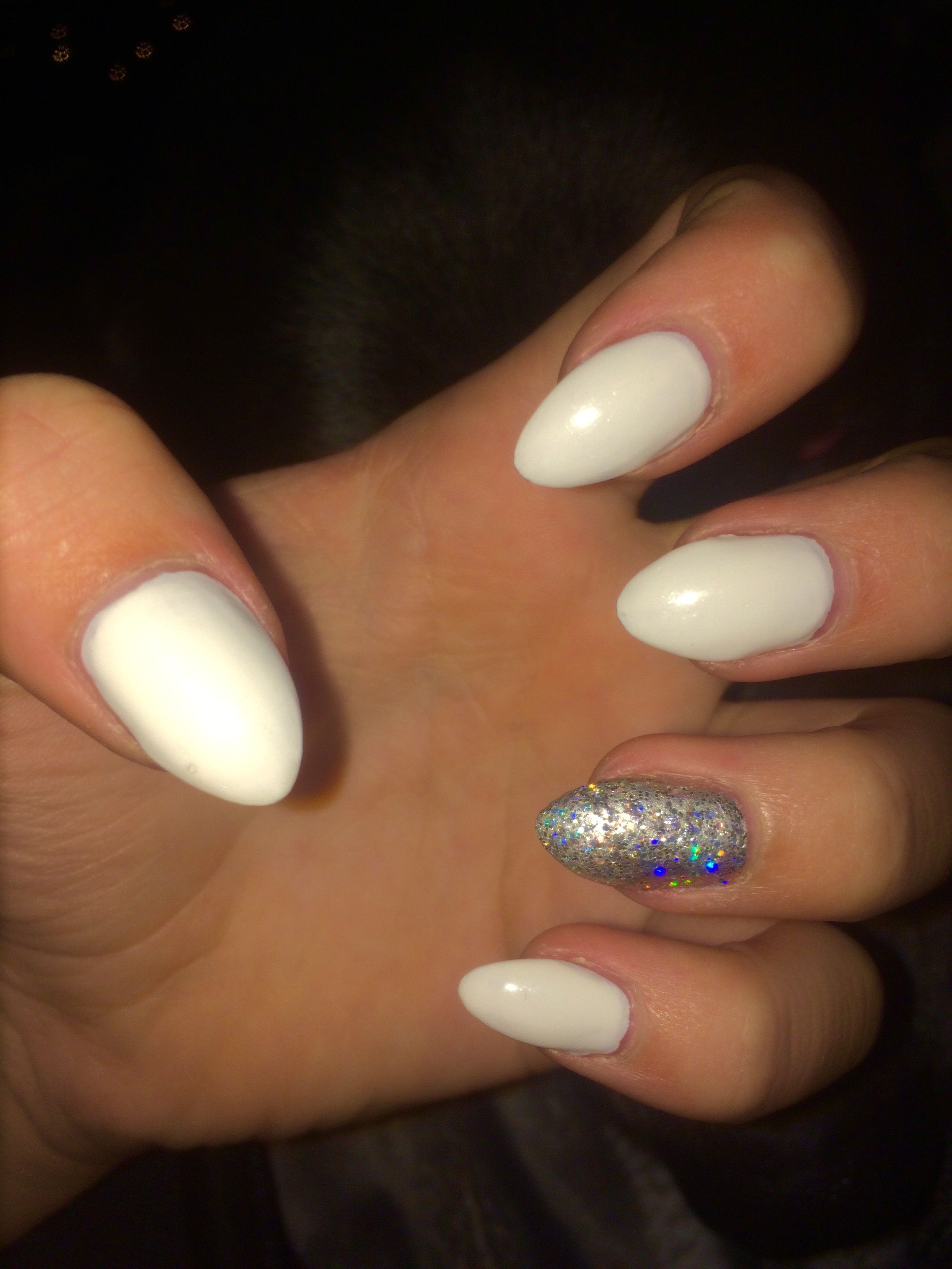 White Almond Acrylics With A Holographic Accent Nail White Acrylic Nails Nails Accent Nails