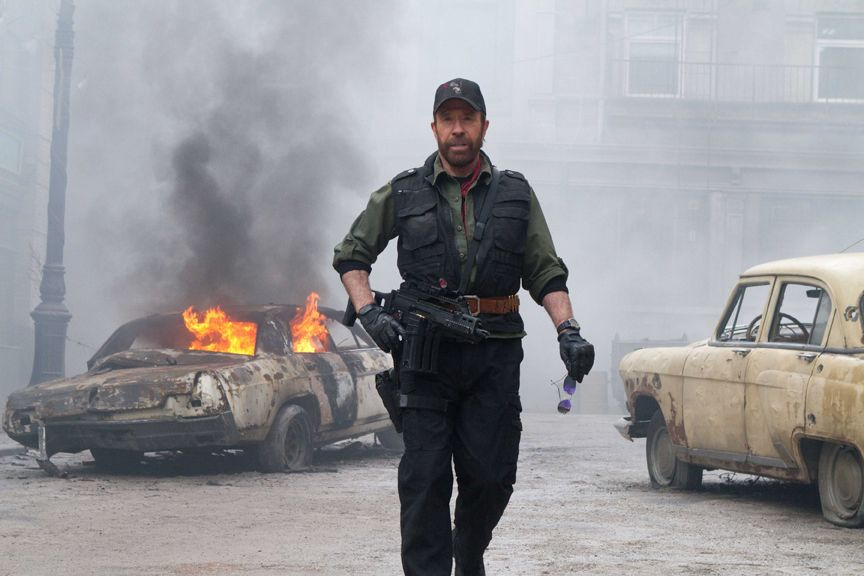 Chuck Norris stars as 'Booker' in THE EXPENDABLES 2. Photo credit: Frank Masi