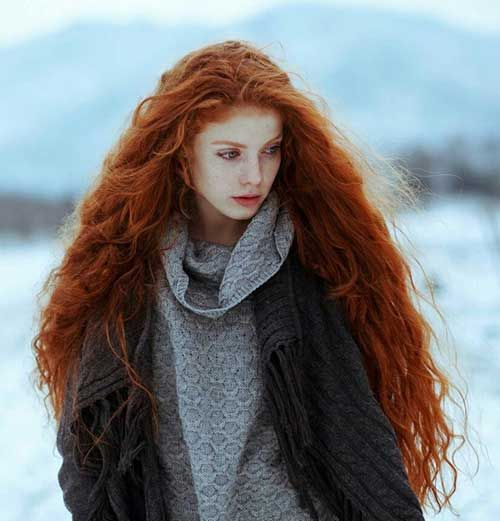 long curly red hair beauty