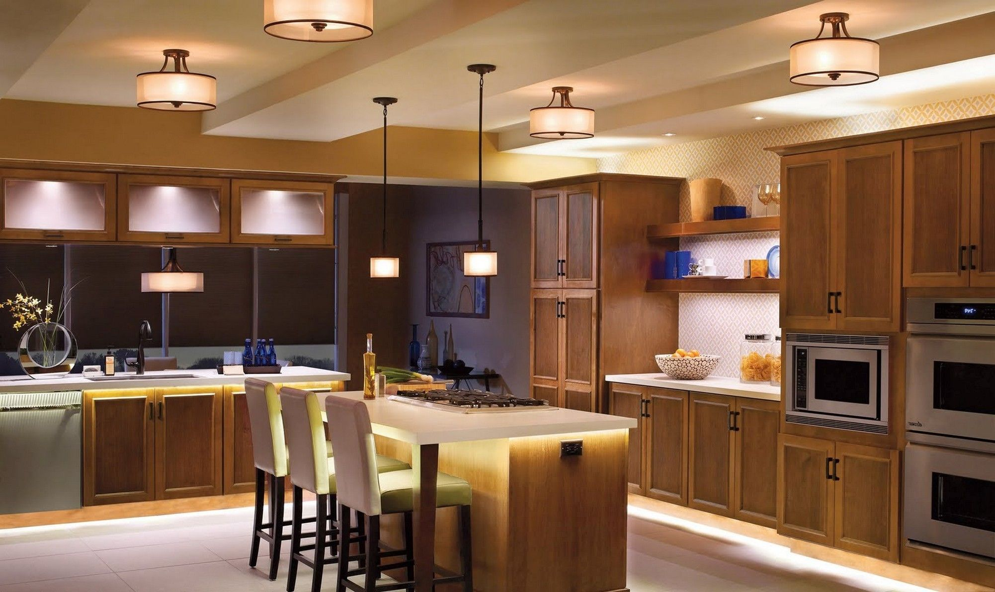 Wonderful Kitchen Ceiling Lights Above Large With Wooden Island And Cozy Stools On Wide Carpet