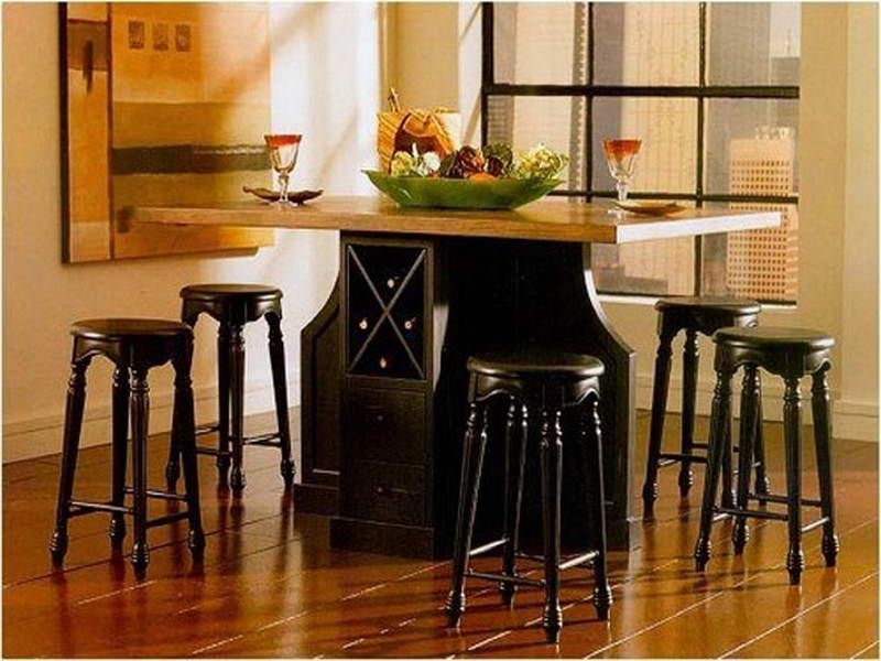 Black Glossy Counter Height Kitchen Tables With Wine Storage Loft