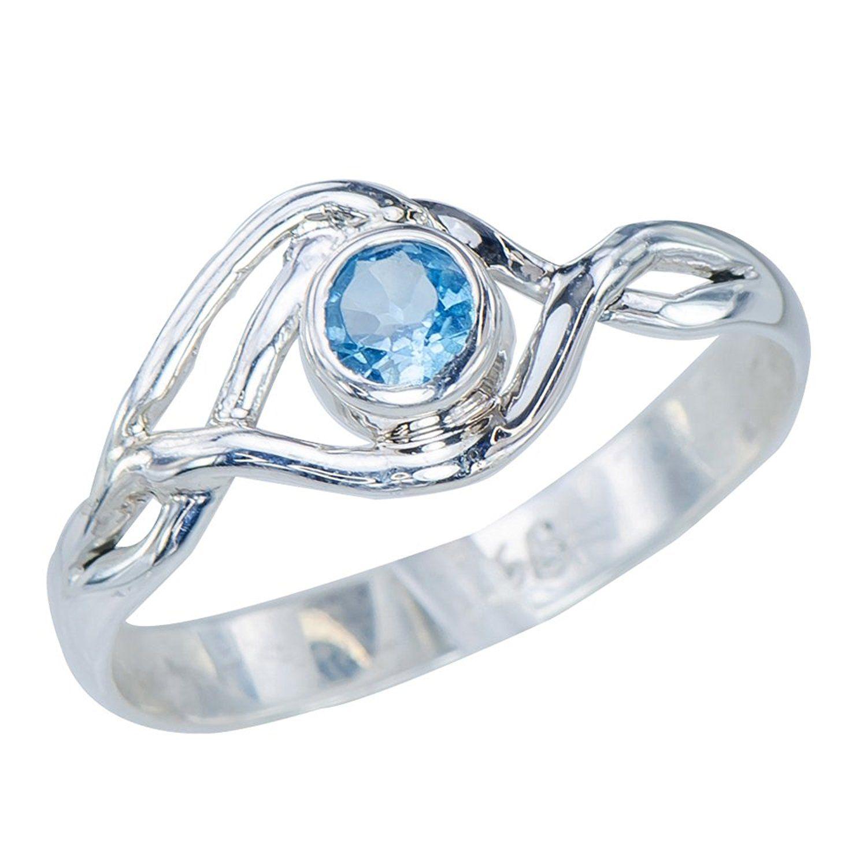 Stunning Womens Swiss Blue Topaz 925 Sterling Silver