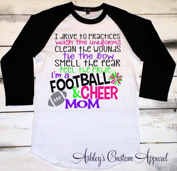 b7e25348db Football Mom Shirt, Cheer Mom Shirt, Football Shirt, Cheerleader Mom Shirt,  School Spirit Shirt, Pro