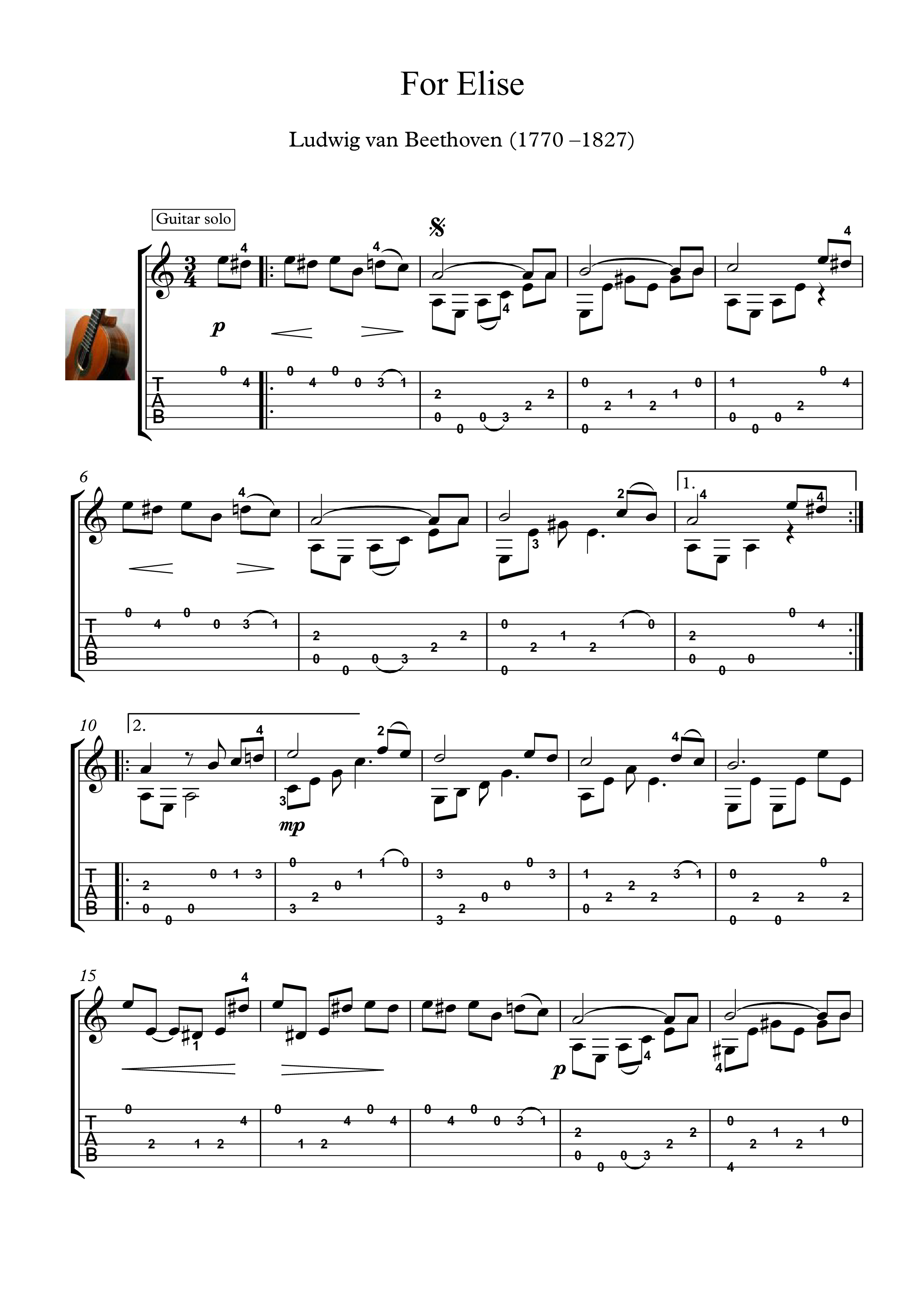 For Elise Guitar solo sheet music Fur Elise, arranged for classical guitar solo and tablature ...