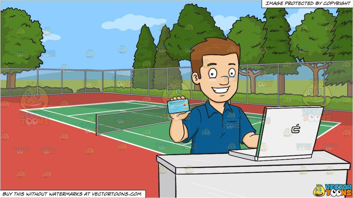 A Man Excitedly Grabs His Credit Card To Do Some Online Shopping And An Outdoor Tennis Court Background Tennis Court Outdoor Cartoon Images
