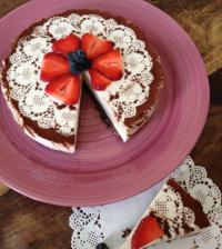 Koldskål cheesecake med kakao/nødde bund - Lowcarb Store Danmark