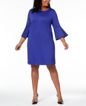 84781b068e Kasper Plus Size Bell-Sleeve Dress - Purple