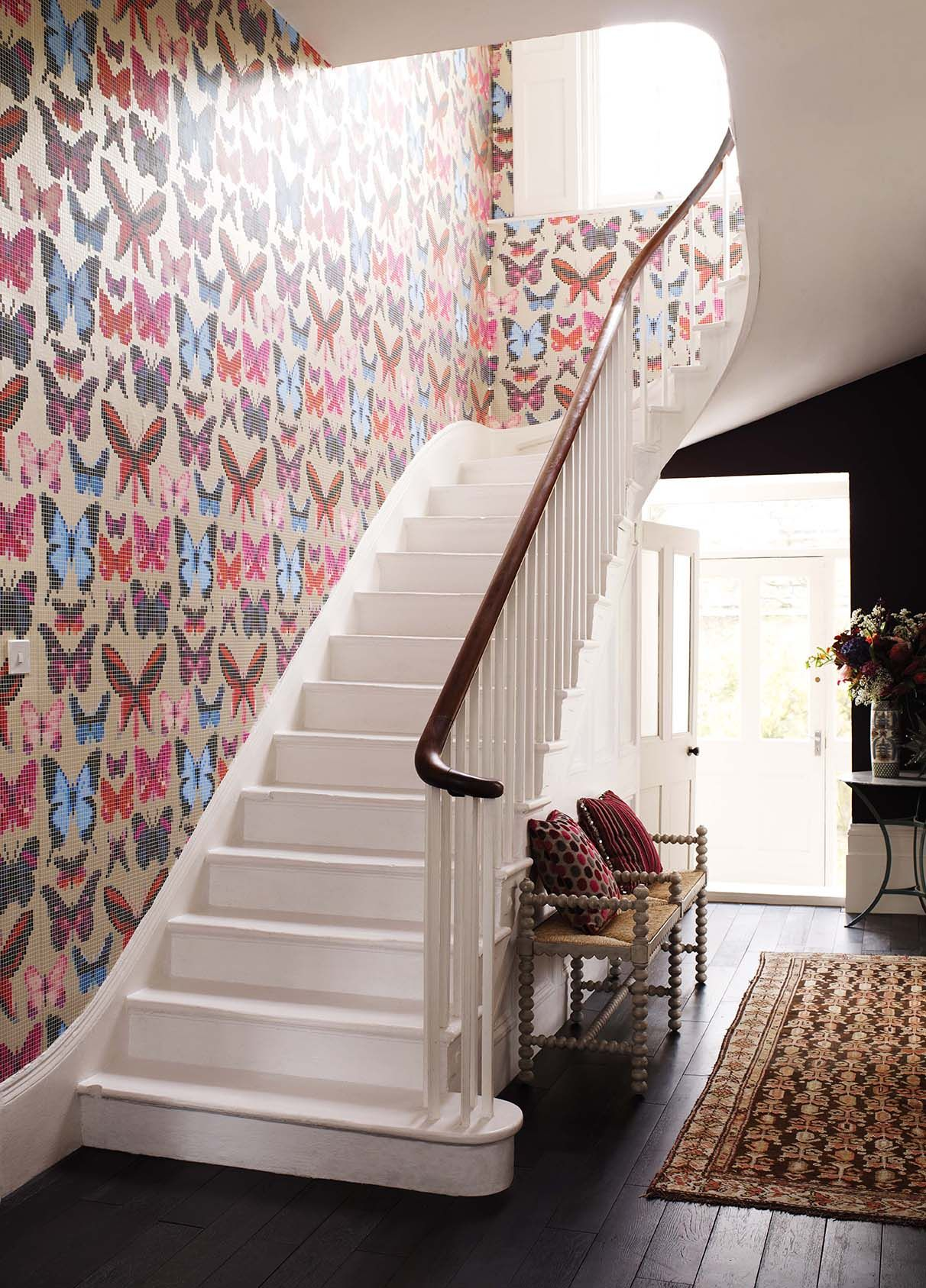 Hallway and stairs wallpaper  Butterfly House wallpaper from the Verdanta collection by Osborne
