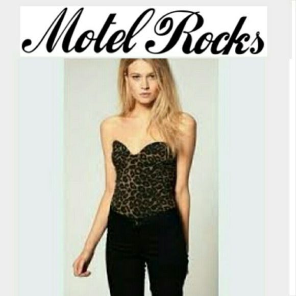 NWT Motel Rocks Leopard Hillary Bodice From Nasty Gal! Motel Rocks leopard print Hillary Bodice- great to wear with high waisted pants or a skirt! Could even work with denim cut offs. Super cute sweetheart neckline and slimming cut. Motel Rocks Tops