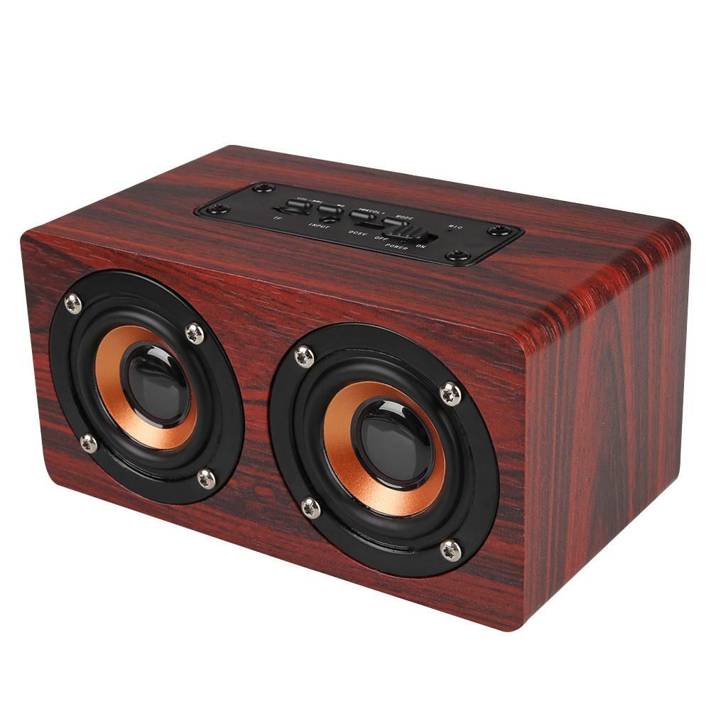 Portable Retro Wood Bluetooth Dual Loudspeaker North America