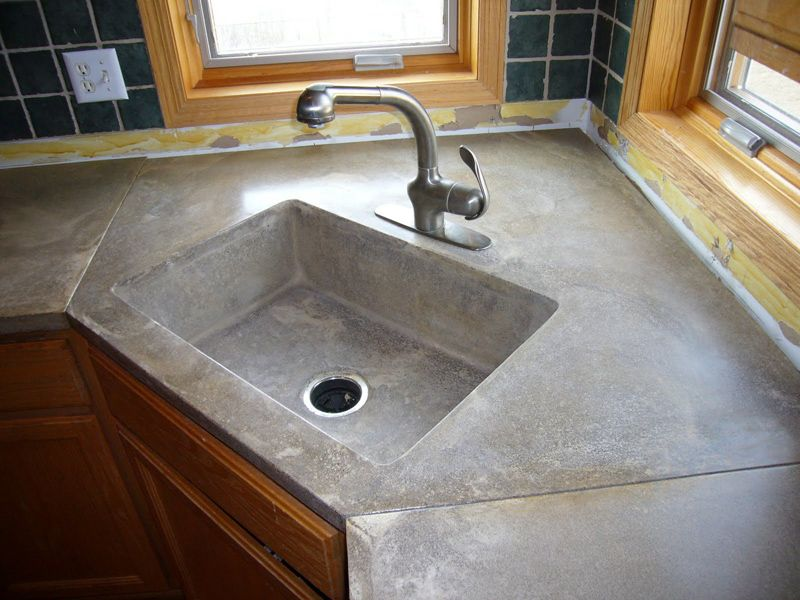 Cement Counter Tops With Concrete Countertop And Sinks On Other 9151 Concrete Countertops Kitchen Stained Concrete Countertops Concrete Kitchen Counters