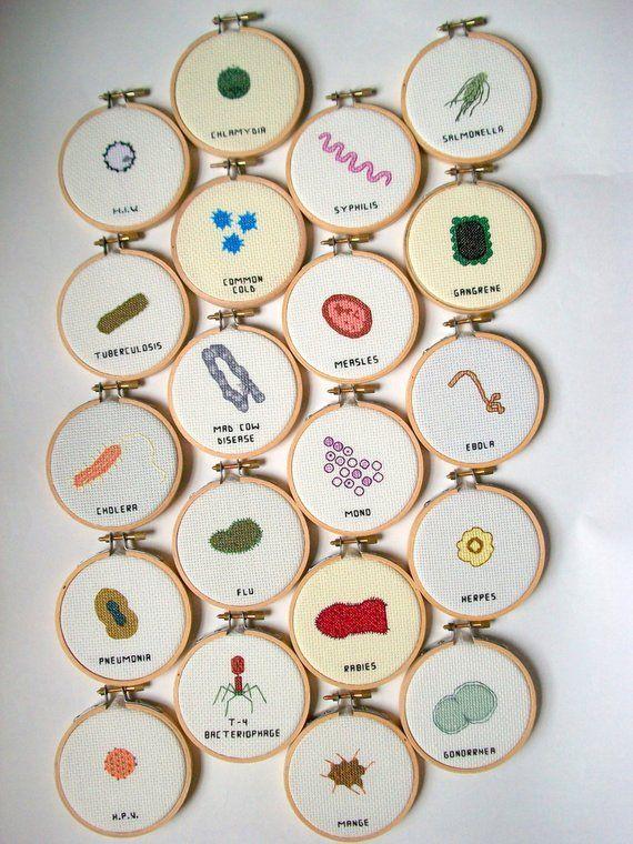 THREE Cross Stitch KITs -- any 3 microbe cross sti