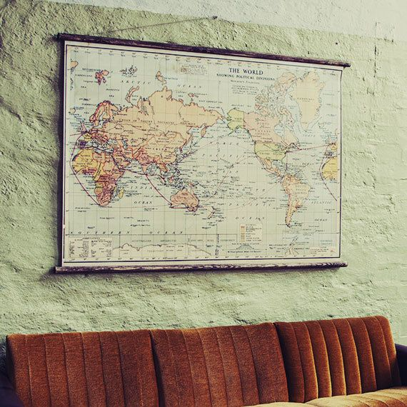 The World   Pull Down Map $329 cheaper from ikea | Boys bedroom