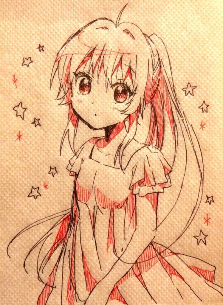 ANIME ART anime girl on a napkin. . .long hair