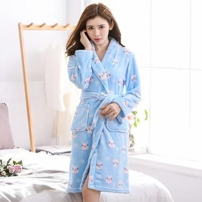 770bf179fa Bath Robe Women Winter Warm Coral Fleece Women s Bathrobe Nightgown Kimono  Floral Dressing Gown Sleepwear Female Home Clothes