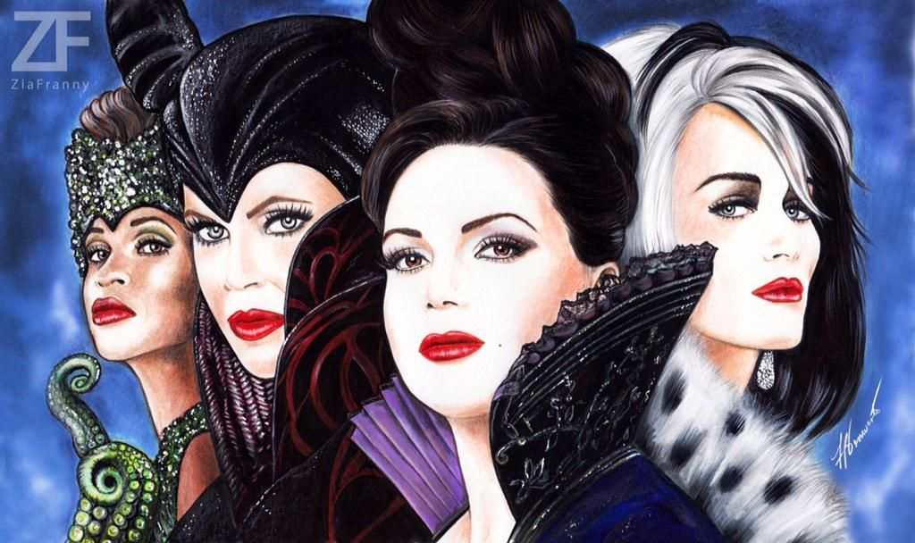 Gorgeous #QueensOfDarkness drawing by the amazing @ZiaFranny. #OnceUponATime #OUAT