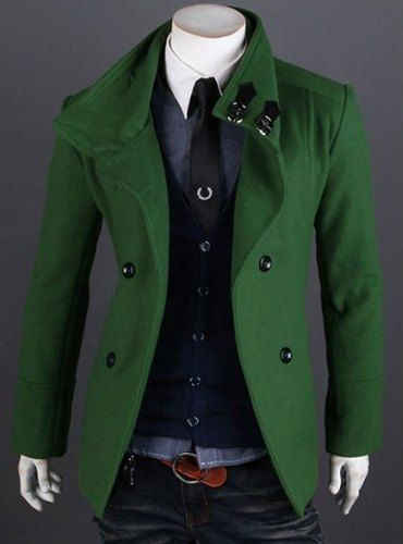 Slimming Trendy Turndown Collar Solid Color Double Breasted Long Sleeve Woolen Trench Coat For Men