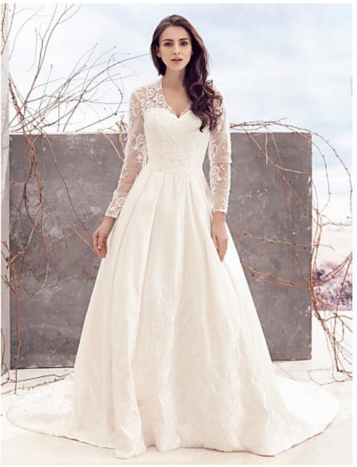 Plus Size Ling Sleeve Lace Boho Wedding A Line Plus Size Wedding