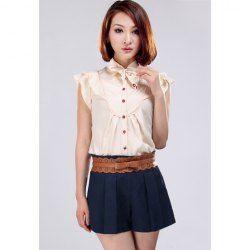 $12.16 Ladylike Cherry Buttons Flouncing Sleeveless Chiffon Shirt For Women